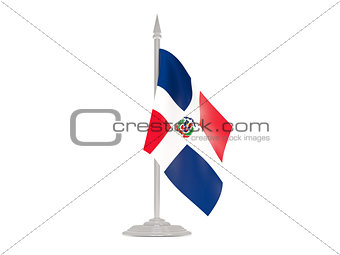 Flag of dominican republic with flagpole. 3d render