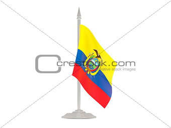 Flag of ecuador with flagpole. 3d render