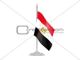 Flag of egypt with flagpole. 3d render