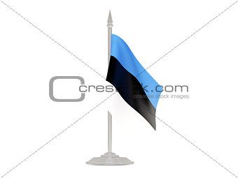 Flag of estonia with flagpole. 3d render