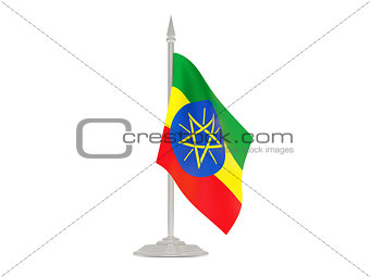 Flag of ethiopia with flagpole. 3d render