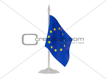 Flag of european union with flagpole. 3d render