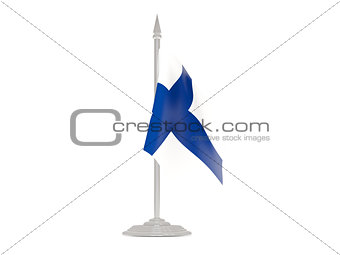 Flag of finland with flagpole. 3d render