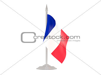 Flag of france with flagpole. 3d render