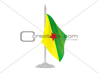 Flag of french guiana with flagpole. 3d render