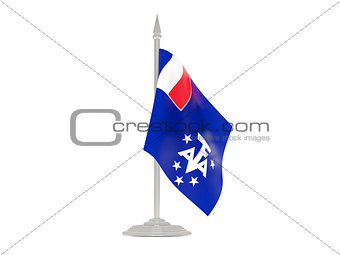 Flag of french southern territories with flagpole. 3d render