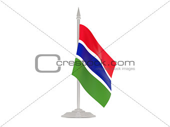 Flag of gambia with flagpole. 3d render