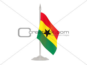 Flag of ghana with flagpole. 3d render