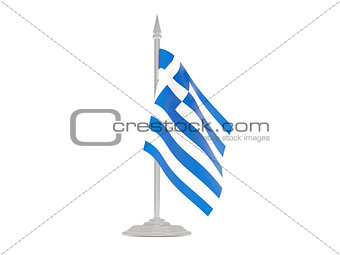 Flag of greece with flagpole. 3d render