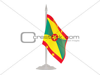 Flag of grenada with flagpole. 3d render