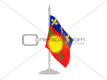 Flag of guadeloupe with flagpole. 3d render