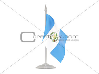 Flag of guatemala with flagpole. 3d render