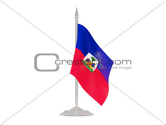 Flag of haiti with flagpole. 3d render
