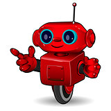 The red robot on the wheel