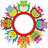Round frame with cartoon owls