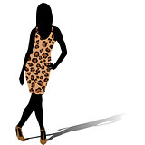Woman silhouette in leopard skin dress