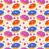Beautiful vector seamless pattern with colorful donuts