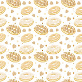 Beautiful vector seamless pattern with monochromatic sepia donut