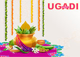 Happy Ugadi. Template greeting card for holiday Ugadi. Gold pot with coconut