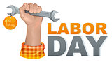 1 may labor day. Hand fist holding wrench. Greeting card template