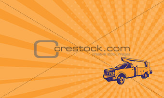 Business card Cherry Picker Mobile Lift Truck Woodcut