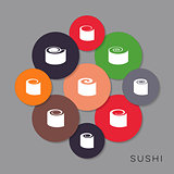 Modern colorful vector sushi icons