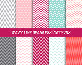 Vector wavy line seamless patterns collection