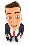 3d businessman standing and looking up at camera