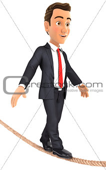 3d businessman walking on a rope