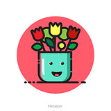 Vector illustration for Valentines day postcard of smiling flowe