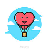 Vector illustration of heart shape air balloon