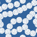 Volleyball seamless pattern. Sports balls on blue background.