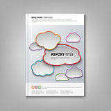 Brochures book or flyer with colored clouds template