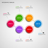 Info graphic with colored design round pointer template