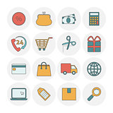 Shopping outine icons flat