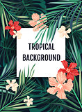 Summer tropical hawaiian background with palm tree leavs and exotic flowers