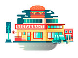 Restaurant building flat design