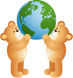 Teddy bears holding world globe