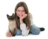 child and siamese cat