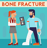 Bone fracture vector character cartoon illustration