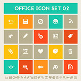 Office 2  icon set. Multicolored square flat buttons