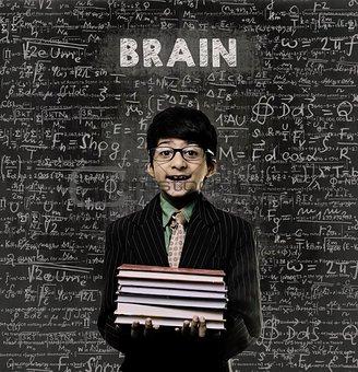 BRAIN. Genius Little Boy Holding Book Wearing Glasses