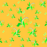 lily of the valley on a yellow. seamless vector illustration