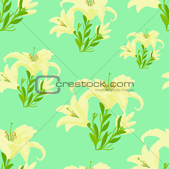 beauty lily on a blue. seamless vector illustration