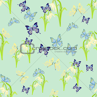 beauty butterfly on a blue. seamless vector illustration