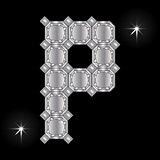 Metal letter P. Gemstone. Geometric shapes