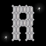 Metal letter R. Gemstone. Geometric shapes