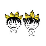 Prince and princess with crown on head for your design