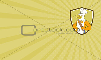 Business card Bald Eagle Baker Chef Rolling Pin Crest Cartoon