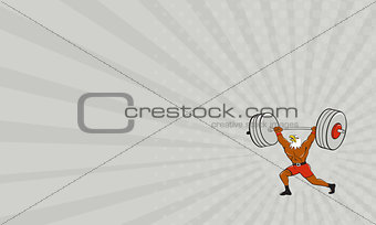 Business card Bald Eagle Weightlifter Lifting Barbell Cartoon